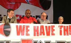 Photo: Nic Dawes, Sdumo D'lamini, Ronnie Kasrils, Nadine Gordimer - Right 2 Know Protest