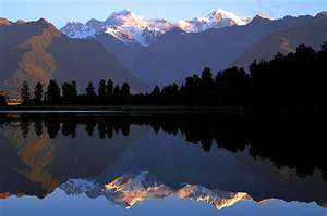 Mt. Tasman and Mt. Cook Reflected in Lake Matheson