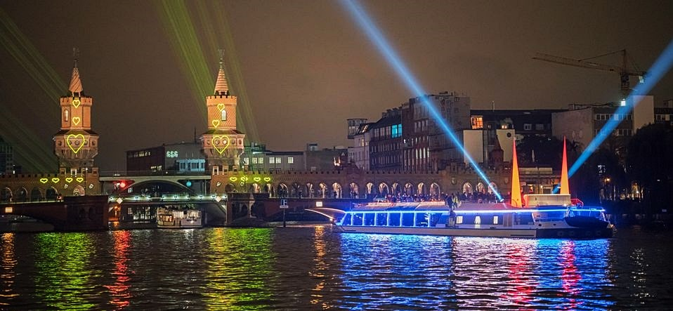 Berlin's Light Festival from River Spree