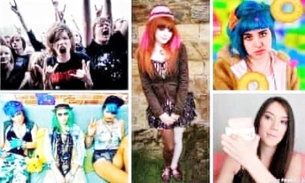 Clockwise - Metallers, Goth, Molly Soda, Haul Girl, Seapunks Photograph Rex Christopher Furlong Public Domain